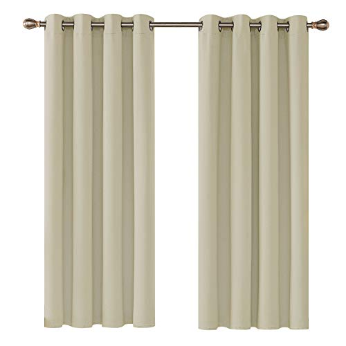 Deconovo Blackout Curtains Beige Super Soft Window Treatment Thermal Insulated Eyelet Blackout Curtains for Livingroom 46 x 54 Inch 2 Panels