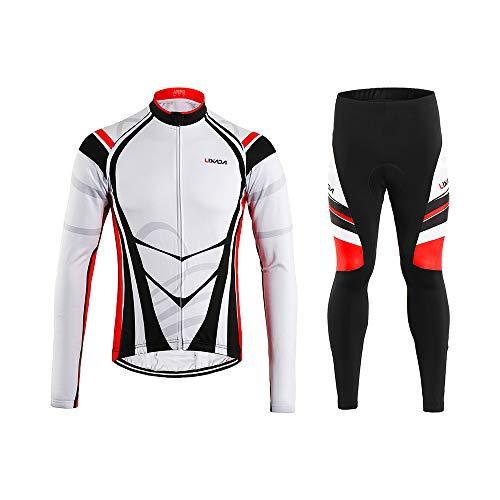 Lixada Completo Ciclismo Abbigliamento Set Uomo Inverno Termico Vello Maniche Lunghe Antivento Ciclismo Maglia Lunga e Pantaloni (Rosso Bianco, M(EU),(170-175cm,65-70kg))