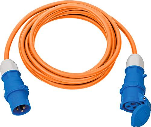 Brennenstuhl Alargador de camping 5 m (cable alargador CEE naranja H07RN-F 3G2,5 con enchufe CEE y acoplamiento con tapa de cierre, para uso permanente en exteriores IP44, fabricado en Alemania)
