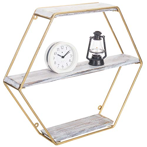 MyGift 3-Tier Wall Mounted Shelf with Hexagon Gold Metal Frame & Whitewashed Wood Shelves