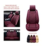 OASIS AUTO OS-009 Leather Car Seat Covers, Faux Leatherette Automotive Vehicle Cushion Cover for Cars SUV Pick-up Truck Universal Fit Set for Auto Interior Accessories (Full Set, Burgundy)