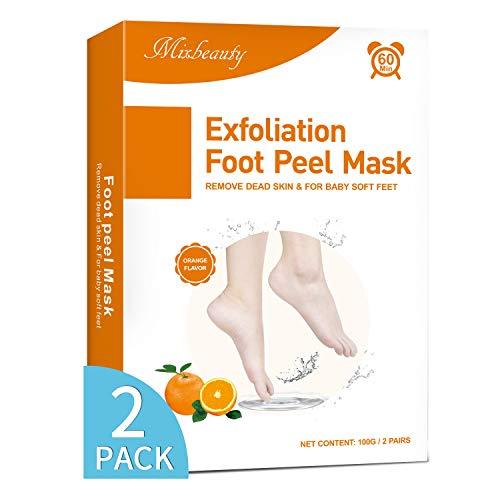 Mixbeauty Fußmaske 2 Paar, Fußpeeling Hornhaut Socken, Hornhaut Entfernung Fußpeeling Maske, Fussmaske hornhautentferner für Samtweiche und Zarte Füße (Orangenduft)