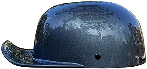 Egrus Motorcycle Half Helmet Skull Cap, Light Baseball Cap Modeling Retro Open-Face Helmet for Men and Women DOT Approved, Bike Cruiser Chopper Moped Scooter ATV Helmet, Matt Black XL=59-60CM