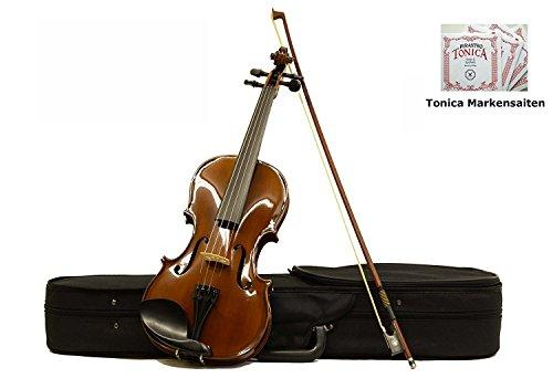 Sinfonie24 Geige 4/4, Violine für Einsteiger, Holz massiv, Ebenholz Griffbrett, akustisch, Set mit Koffer, Bogen und Kolophonium, Braun Palisanderfarbe, spielfertig mit Markensaiten (Basic II)