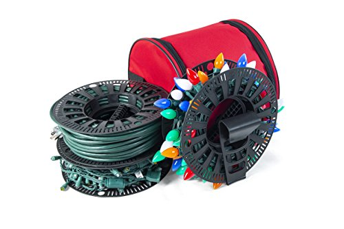 Santa's Bags [Wire and Christmas Lighting Storage Bag] - Install N Store Light Storage Reels and Wire Spool - Includes 3 Spools, a Hanging Hook, and a Zipper Bag