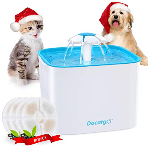Docatgo Cat Water Fountain, 68oz/2L Automatic Pet Water Fountain Dog Water Dispenser with 4 Replacement Filters for Cats, Dogs, Multiple Pets