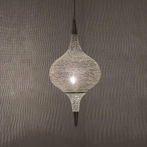 HANGING GRACE SKY-Suspension, Metall, gelocht, Durchmesser 20 cm, versilbert Zenza
