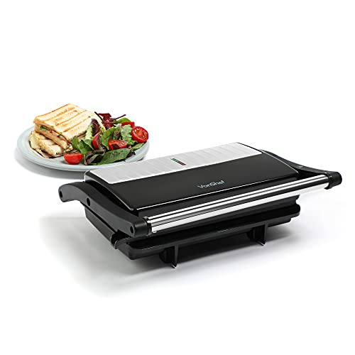 VonShef 2-in-1 Sandwich Toaster Maker and Grill, 2 Slice Panini Press with Adjustable Temperature Control and Non-Stick Plates for Healthy Grilling ? 1500W