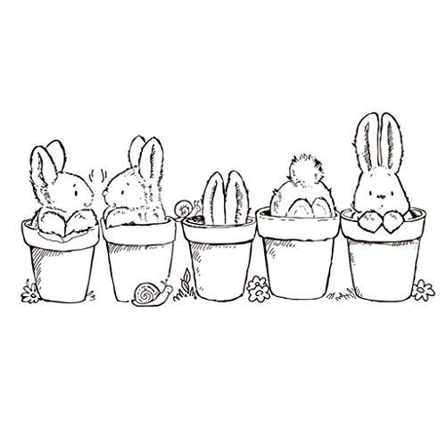Haorw Ostern Hase Topfpflanze Silikon Klar Stempel - DIY Scrapbooking Album Foto Stempel Für Ostern Geschenke