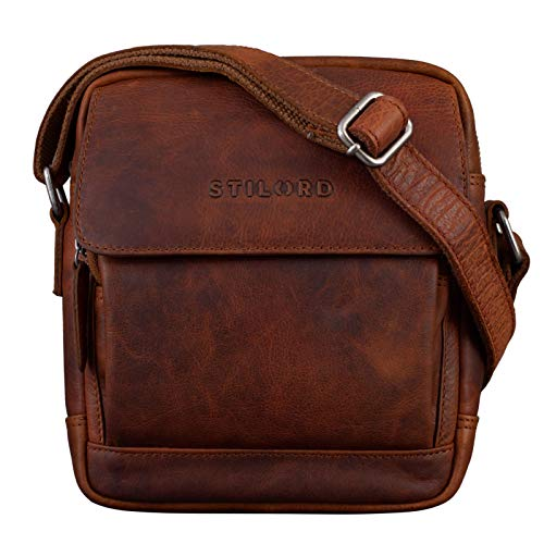 STILORD 'Jordan' Borsa Piccola Uomo Pelle Borsello in Cuoio Vintage Borsa da Turista Cross Body Messenger Vintage, Colore:santana - marrone