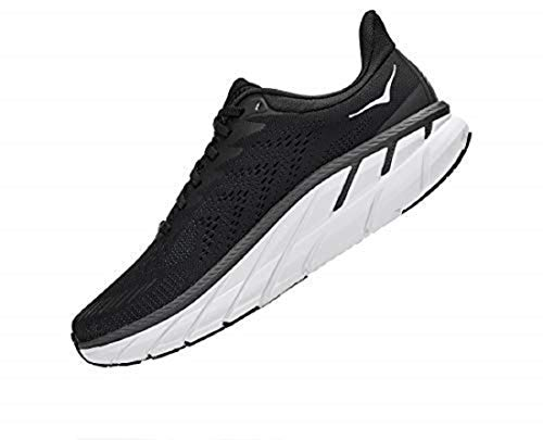 Hoka One One Hombre Clifton 7 Textile Synthetic Black White Entrenadores 42 EU