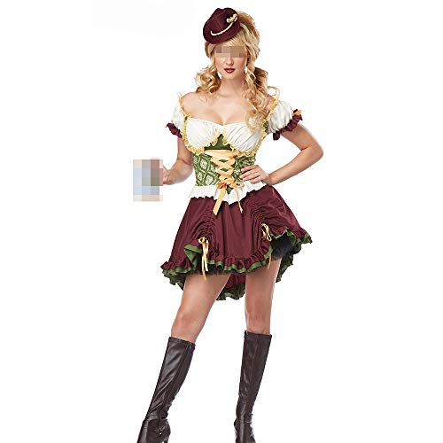HALLOWEEN-COSTUMES Frauen Oktoberfest Sexy Kleid,Damen Dirndl Set - Midi Trachtenkleid Kurzarm Dirndlbluse für Oktoberfest Short-XL