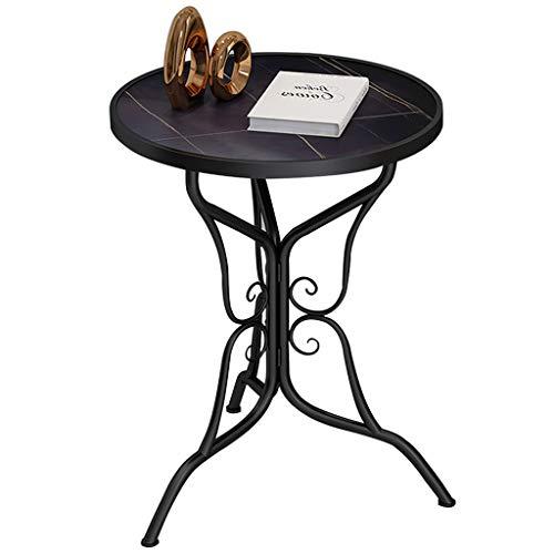 KYSZD-Uhren Runder Beistelltisch, gesinterte Steinplatte, Metallrahmen-Schmetterlingsbasis für Wohnzimmer, Balkon, robust und stabil, dekorativ