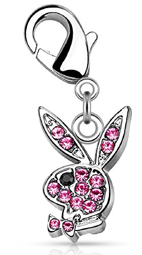 Body Accentz CZ Paved Playboy Bunny with Lobster Claw for Belly Rings, Bracelets and More CARM