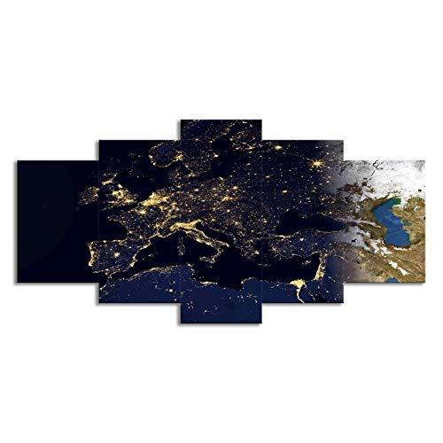 Swlyddm Leinwand drucken 5 Stück Gemälde Bilder - Sternbild Stern - 200x100 cm Leinwand Wandkunst Moderne Wandbilder Wohnzimmer Schlafzimmer Dekoration fertig zum Aufhängen