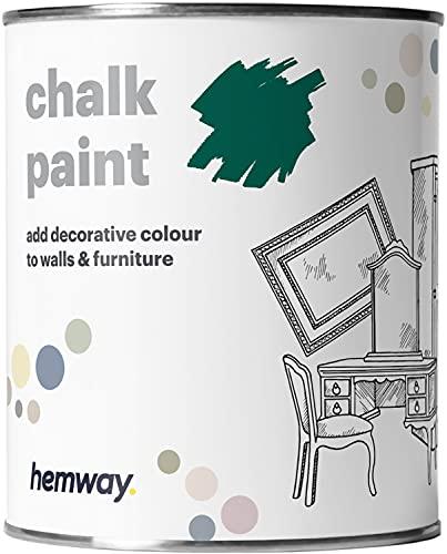 Hemway, pittura a gesso, vernice opaca, pittura per pareti e mobili, 1l, shabby chic, vintage, gessosa, disponibile in 14 colori, verde