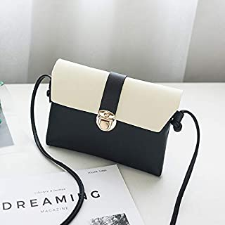Leather New Women's Shoulder Wallet Crossbody Shoulder Wallet Contrast Color Small Wallet Simple Fashion Purse Waterproof (Color : Black, Size : S)