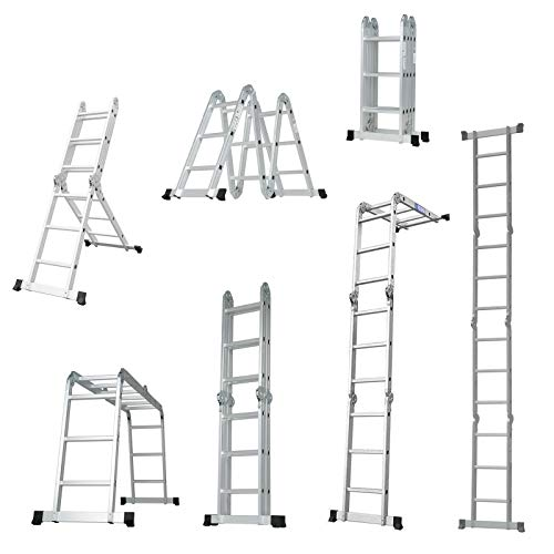 SUNCOO 12.5FT Folding Ladder, 7 in 1 Multi-Purpose Aluminium Extension Ladders, Lightweight Scaffold Attic Stepladder GS&EN 131 Standard, 330lbs