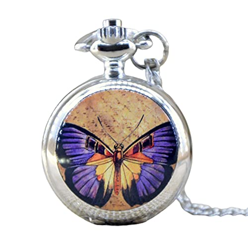 Moda caliente encantadora pequeña plata hermosa mariposa con caja de espejo reloj de bolsillo analógico colgante collar hombre mujeres regalo