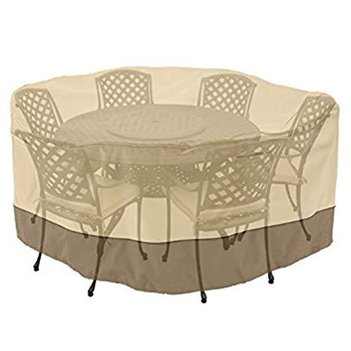 LRZLZY Juego de Comedor de jardín Muebles de ratán Mantel Impermeable al Aire Libre a Prueba de Polvo de Empalme Círculo de PVC + Poliéster, 3 Colores 22 Tamaño (Color : Khaki, Size : 178X59CM)