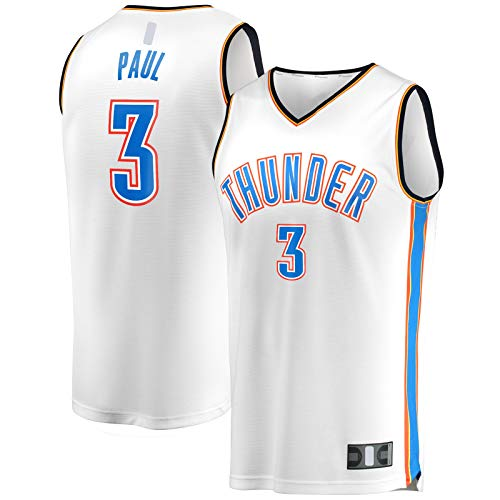 HFHDF Camiseta de baloncesto Chris Paul Sports Oklahoma Mesh City de manga corta Thunder #3 Fast Break Player Jersey Blanco - Association Edition-S