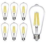 Bioluz LED Dimmable Edison Light Bulbs 800 Lumen Warm White 2700K 60W Replacement ST64 / ST19 / ST58 7W E26 Standard Base Pack of 6