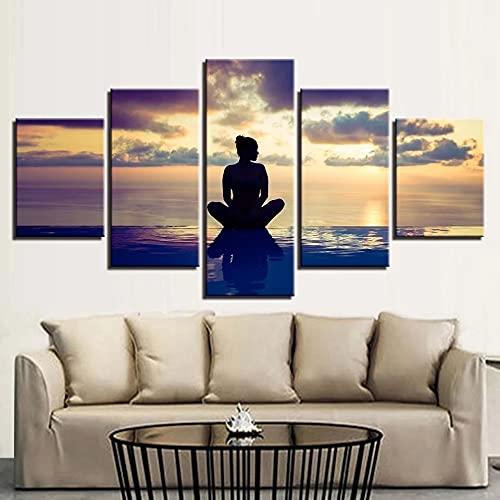 GUANGWEI Impresión En Lienzo Póster HD 5 Combinación De Pintura Colgante Mujer, Meditar, En La Playa Marco De Dibujo Decorativo del Paisaje del Regalo del Arte De La Pared del Hogar
