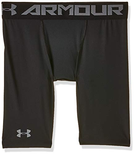 Under Armour Herren HeatGear 2.0 LONG Shorts robuste und leichte Kompressionshose, Sportshorts mit Netzstoffeinsätzen, schwarz (Schwarz), L