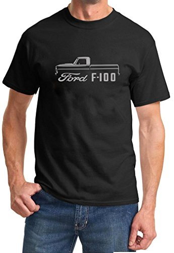 1967-72 Ford F-100 Pickup Truck Classic Outline Design Black Tshirt Large Grey