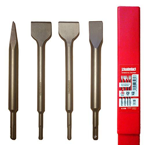 SCHWABENBACH ® SDS PLUS Meißel Set - 4tlg. 25 | 50 x 250 mm - EXTREM ROBUST- Meissel kompatibel mit Bosch Hilti Makita Metabo Bohrhammer - Professional Fliesenmeissel für Abbruchhammer Stemmhammer