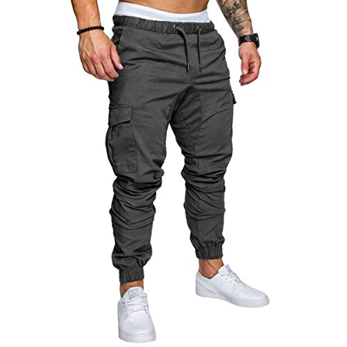 lexiart Mens Fashion Joggers Sports Pants - Cotton Cargo Pants Sweatpants Trousers Mens Long Pants Darkgrey