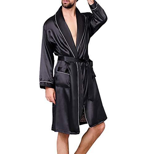 Allthemen Satin Bademantel mit Hose Herren Seide Morgenmantel Leicht Kimono Lang Hausmantel Satin Robe