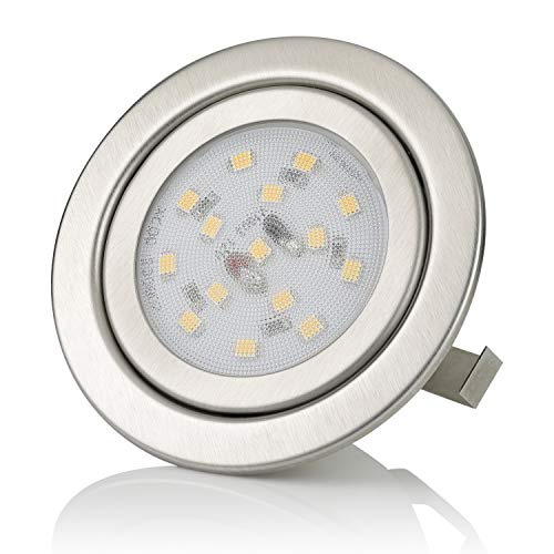 sweet-led® 15 SMD 3W LED Einbaustrahler Flach, Chrom geb. G4 serie AC/DC 12V, hohe Lichtstärke, Warmweiß