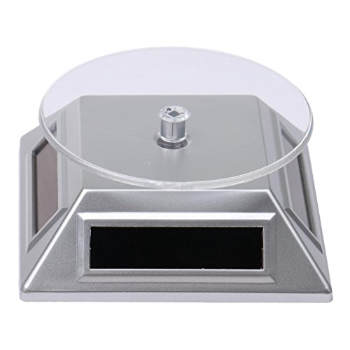 Easyinsmile 360°Rotating Turntable Jewelry Display Stand Solar or AA BatteryNot Included Powered Display for Jewelry Watch Phone Silver