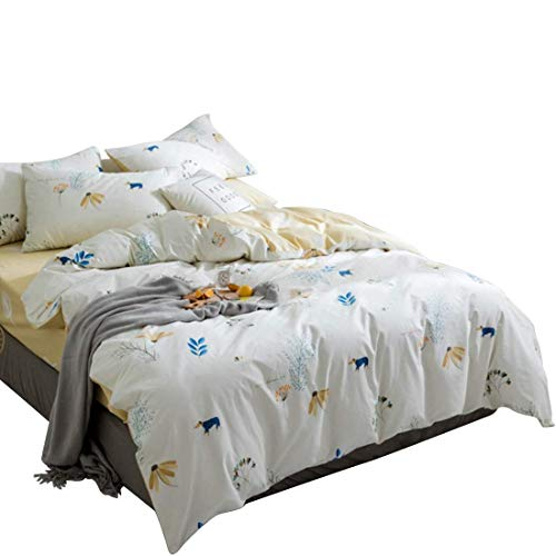 AHJSN Kleine frische frische Baumwolle Vierteilige Twill Cartoon Bedruckte Baumwolle Bettlaken Bett Bettbezug. (Farbe: Blau1, Größe: 150CM) 150CM Weiß