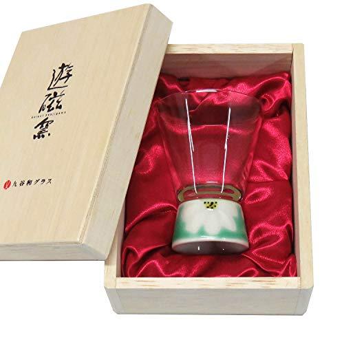 【九谷和グラス】九谷焼ショットグラスマーガレット(グリーン)