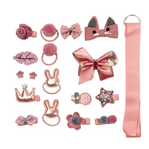 TENDYCOCO 18pcs Baby Girl's Hair Accessories Hair Clips Ties Ribbons and Bows for Daily Use Custome Play with Gift Box (Pink)