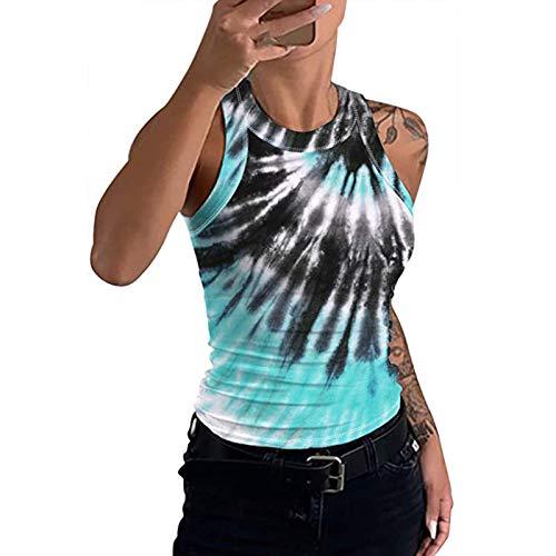 Womens Tanks Tops, Workout Yoga Tank Tops, Exercise Clothes Gym Shirts Halter Tie Dye/Leopard Vest Black