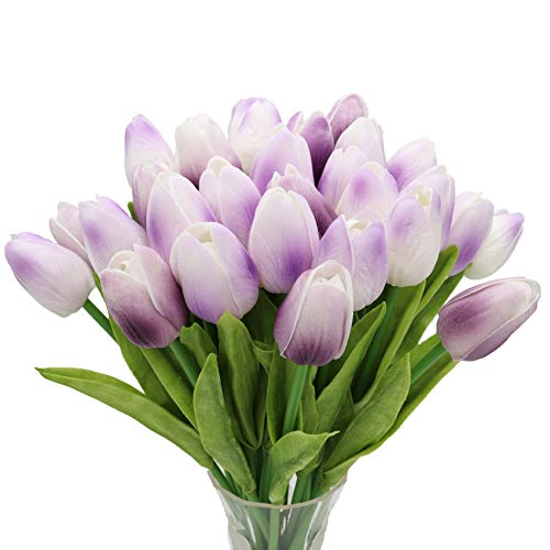 27pc Artificial Flowers Real Touch Tulips in Purple for Spring Wedding Bouquets Flowers Arrangement and Home Room Centerpiece Party Decor (vase not Included) ¡