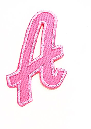 Nipitshop Patches Pink Alphabet Letter A Patches Embroidered Iron On Patch Alphabet A-Z Patch for Clothes Backpacks T-Shirt Jeans Skirt Vests Scarf Hat Bag