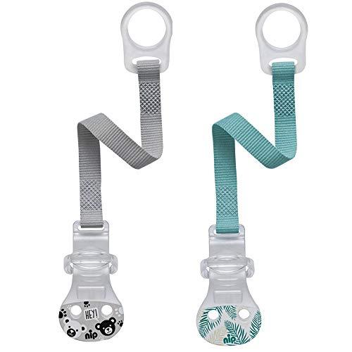 Nip - Set da 2 nastri per ciuccio con anello in silicone flessibile e chiusura comoda per tutti i ciucci,prodotto in Germania