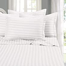 """Elegant Comfort Best, Softest, Coziest STRIPE Sheets Ever! 1500 Thread Count Egyptian Quality Luxury Silky-Soft Wrinkle & Fade Resistant 4-Piece Bed Sheet Set, Deep Pocket Up to 16"""" -King White"""