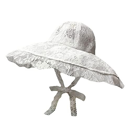 YQQMC Sombreros de Verano Sombreros para Las Mujeres con Sombrero de Playa Ligero con Sombrero de ala Ancha Empacable con Correa de Barbilla Sombrero al Aire Libre (Color : White)