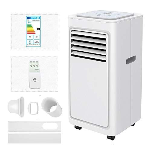 Famgizmo Mobile Klimageräte, 7000 BTU 4in1 Klimaanlage mit Luftkühler, Luftentfeuchter, Lüfter und Schlafmodus, 24H Timer, Fernbedienung, LED-Anzeige, R290, Räume bis 20 qm [Energieklasse A]