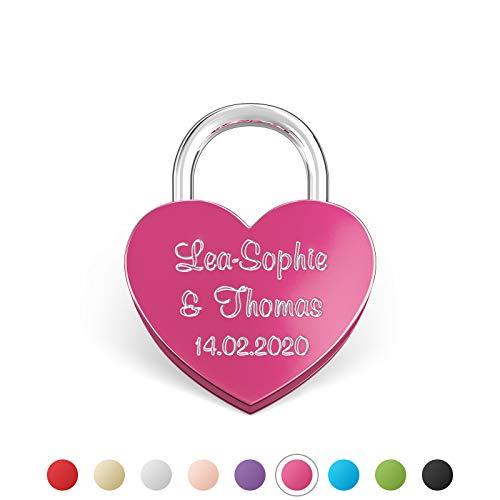 LIEBESSCHLOSS-FACTORY Kleines mini Herz-Schloss Pink mit Gravur und Schlüssel, gratis Geschenkbox uvm. Jetzt graviertes Liebes-Schloss in Herzform gestalten!