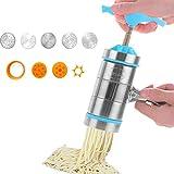 TANGX Máquina De Pasta Manual Portátil Prensa De Máquina De Pasta De Acero Inoxidable Con 4 Herramientas, Azul