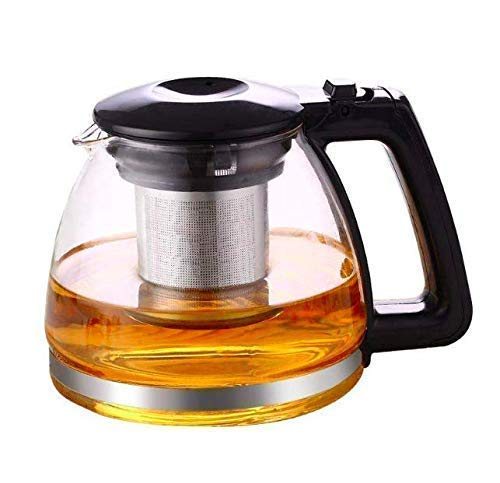 EVATTA Glass Kettle/Teapot with Stainless Steel Infuser & Lid - Blooming & Loose Leaf Teapot (1000ml (1 Liter))