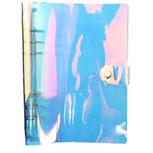 Ruluti A5 Transparente del Diario del Cuaderno De La Cubierta del Brillo De Hojas Intercambiables Nota Material De Oficina del Libro del Planificador del Clip
