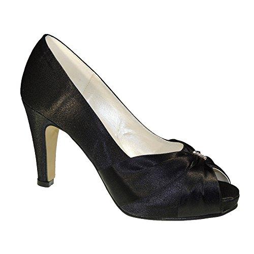 Zapato Raso Vestir Tacón 9 CM y Plataforma para Mujer Negro Talla...