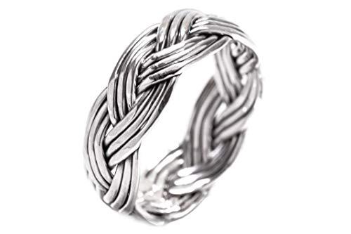 Windalf Celtic Ring Calla h: 0.6 cm Asatru Flechtring Hochwertiges Silber (Silber, 56 (17.8))